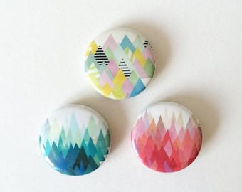Set of Three 25mm Button Badges - Mountainous Range