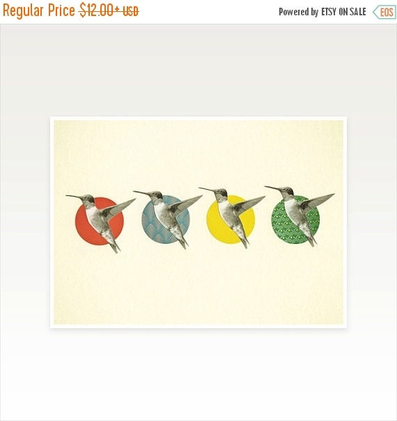 SALE 25% OFF Whimsical Bird Art Print - The Hummingbird Dance