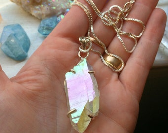 25% OFF SALE-Opal Angel Rainbow Aura Quartz Crystal Sterling Silver Necklace