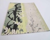Small original botanical print by Stef Mitchell Ferns and flora Dusky yellow natural floral romantic dreamy wall art Unique gift from nature
