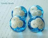 Handmade Lampwork Shank Buttons - Turquoise with murrini - Creeky Beads
