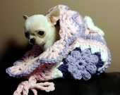 Chihuahua little sleeping bag Chihuahua blanket bed handmade crochet for chihuahua or small pets Flower