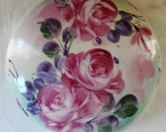 Vintage Limoges China Covered Powder Box Large Dresser Dish Jewelry Box Vanity Limoges Pink Rose Porcelain Covered Powder Box Jewelry Box
