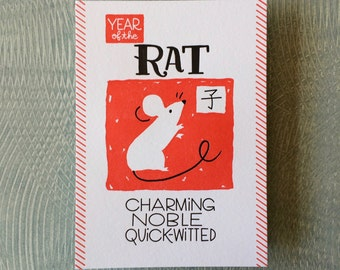 "Chinese Zodiac 5""x7"" - YEAR of the RAT - Letterpress Art Print - New Years - Junishi"
