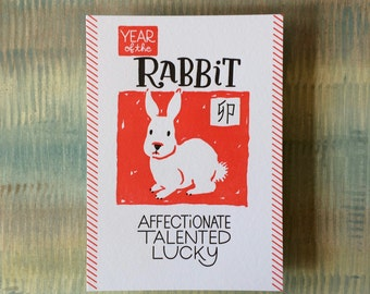 "Chinese Zodiac 5""x7"" - YEAR of the RABBIT - Letterpress Art Print - New Years - Junishi"
