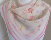 """Talbots // Sheer Pale Pink Chiffon Silk Scarf  // 22"""" Inch 56cm Square // Best of the Best"""