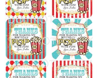 Printable DIY Personalized Circus Carnival Popcorn Theme Favor Bag Thank You Tags