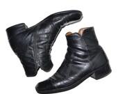 ON SALE Vintage 1970's Black Leather Mens Ankle Boots Vintage 9D Florsheim Style 8.5D