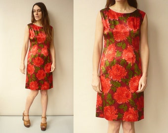 1960's Vintage Red & Green Floral Satin Wiggle Dress Size XS