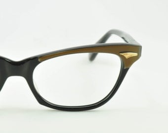 "Frame France ""Chiquita"" Vintage Cat Eye Glasses, NOS, Black with Brown Brows, 1950s, 1960s"