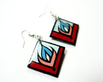 Small & Bold Handpainted Modern Metallic Blue, Red and Coral Flower Blossom Inspired Earrings