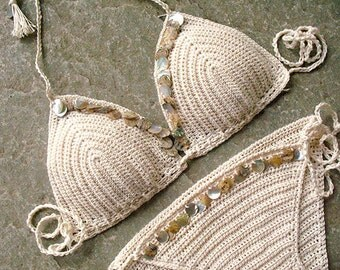 Shell Bikini crochet, Triangle bikini, Crochet swimwear, Beige swimsuit, Tie string top and bottom, Crochet bikini top, Tassel bikini