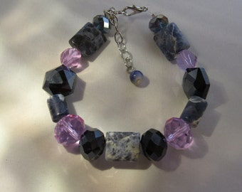 Blue and Pink Beaded Bracelet