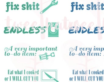 PRINTABLE Adult Language Profanitwee Chores 2 Page Set for Erin Condren Hourly/Horizontal Planner