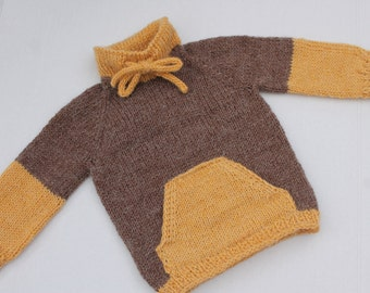 Hand Knit Baby Boy Pullover with Kangaroo Pockets. Brown Mustard Baby Boy Pullover. Seamless Baby Sweater. Alpaca Baby Pullover. 6 months
