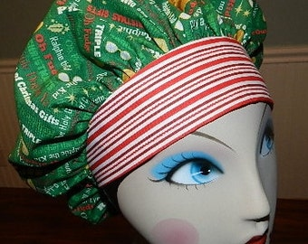 A Christmas Story Words Green Banded Bouffant Surgical Cap