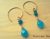 Bright blue chalcedony and blue apatite chips on hammered copper spiral dangle earrings