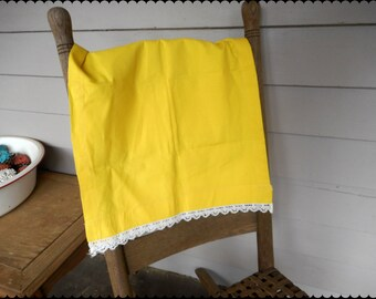Antique Bright Yellow Summer Linen Cotton Table Runner with White lace edging.