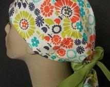 Flower power ponytail scrub hat