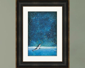 PRINT or GICLEE Reproduction -- Narwhal Painting, Arctic Night, Northern Lights, Starry Night, Whale Art, Narwhal art
