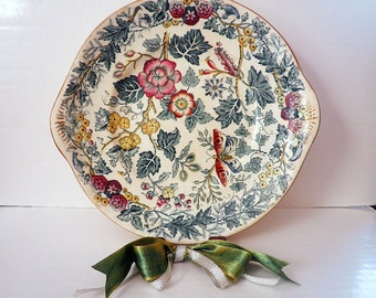 Antique Transferware Cake Plate Botanical Floral Butterfly Chintz Design Gold Accents