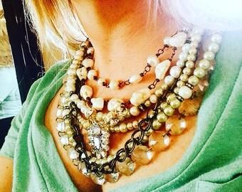 Big statement multi strand chunky necklace bling country chic gypsy glam vintage wedding bridal bib necklace rustic cowgirl wedding Joellie