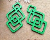 WP20 /# 6 Jade Green / Filigree Geometric Wood Pairs for Earring / Cold Color Laser Cut Geometric Wooden Charm /Pendant /Wood Earring