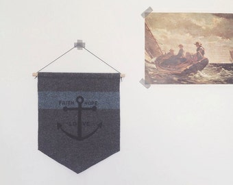 nautical pennant - faith hope love - wall hanging anchor