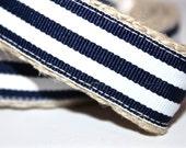 Navy Stripe Dog Leash, Navy and White Stripe Leash, Nautical Dog Leash, Red Dog Leash