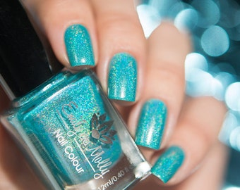 "Nail polish - ""Reflection"" A dark turquoise linear holographic polish"