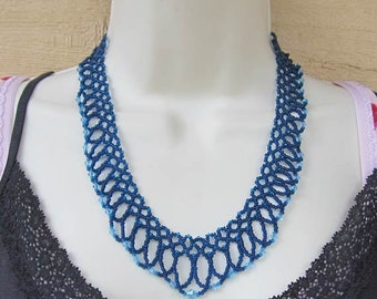 Bead and Crystal Netted Necklace
