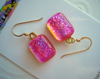 Dynamic Hot Pink Dichroic Earrings Fused Glass 14K Gold Earwires Dangle Drop Handmade Kiln Fired Jewelry Iridescent Blue Violet Shimmer