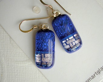 Dangle Earrings Atlantic Blue with Silver Dichroic Fused Glass 925 Sterling Silver Earwires Kiln Fired Artist Made Handcrafted Blue Jewelry
