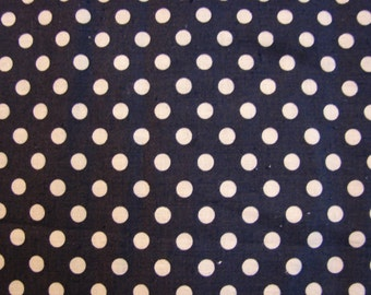 Vintage Fabric 1960s Blue Navy Polka Dot Fabric 35 inch wide