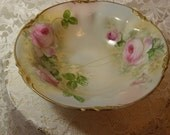 E.S. Prussia Porcelain Bowl with Hand Painted Pink Roses