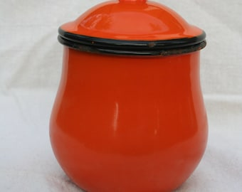 Gorgeous Mid Century OTO Japan Orange Enamelware Sugar Bowl Container with Lid Halloween Desk Candy Dish