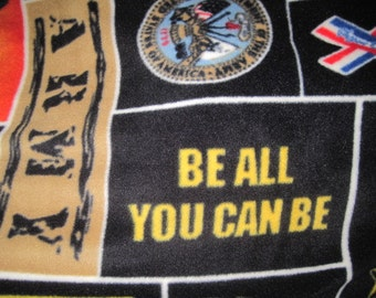 Army Emblems, Logos, Seal and Eagles with Gold Fleece Blanket - Ready to Ship Now