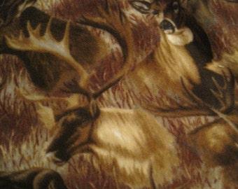 Elk, Deer, Moose with Burgundy Fleece Blanket - Ready to Ship Now