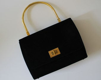 Wonderful Vintage 60s HANDBAG by Jana...Retro Purse...Soft Black Faux Suede...Gold Metal Trim