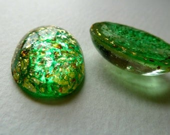 Green Confetti Glass Cabochons - Gold Flecks - 25x18mm - Lots of Glitter -  Oval Vintage Japanese  - Qty 4 pcs (cc2)