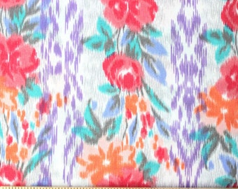 Purple Pink Aqua Orange and Grey Floral Vine Vertical Stripe Rayon Challis, 1 yard