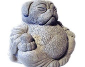 Zen PUG Dog Buddha Garden Art Statue Sculpture by Tyber Katz