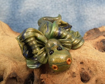 "Precious Gilded Fingertip Baby Dragon 'Solar' 1+1/4"" OOAK Sculpt by Sculpture Artist Ann Galvin"