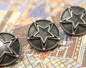 Metal Buttons - Double Star Metal Shank  Buttons , Nickel Silver Color , 0.71 inch , 10 pcs