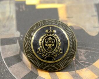 Brass Emblem Deep Blue Enamel Metal Shank Buttons , 0.87 inch , 8 pcs