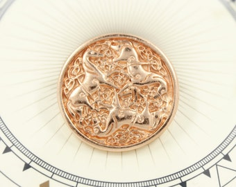 Metal Buttons - Celtic Horses Rose Gold Metal Shank Buttons - 1 inch - 3 pcs