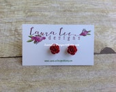 READY TO SHIP, Sale, Deep Red Roses, Stud Earrings, Trendy Stud Earrings, Summer Earrings, Fall Earrings, Stylish, Gift, Wardrobe Staple