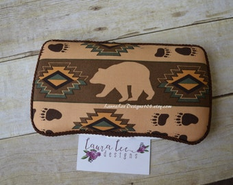 READY TO SHIP, Bear and Aztec, Tribal, Travel Baby Wipe Case, Personalized, Diaper Wipe Case, Baby Shower Gift, Wipe Clutch, Woodland Aztec