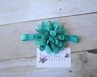 READY TO SHIP, Turquoise Blue Large Lace Headband, Single Flower Headband, Newborn, Photo Prop, Baby Shower Gift, Sitter, First Birthday
