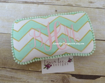 Mint and Gold Glitz Chevron with Mini Pom Travel Baby Wipe Case, Diaper Wipes Case, Baby Shower Gift, Wipe Holder, Personalized Wipe Clutch